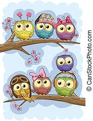 Cute Owls is sitting on a branches