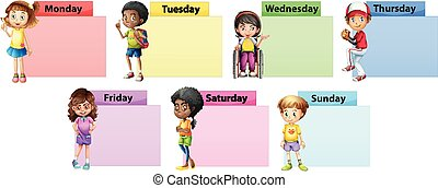 Seven days of the week note template with kids