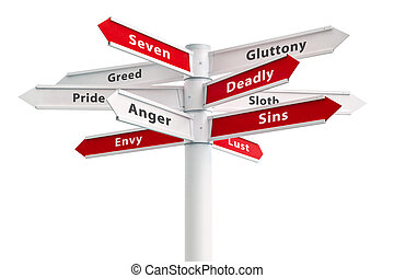 Seven deadly sins on crossroads sign arrows.