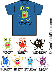 seven different monster print for tshirts