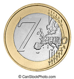 Seven euro coin -  Seven euro coin on white