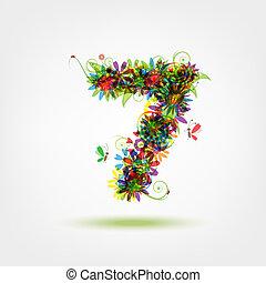 Seven, floral number for your design