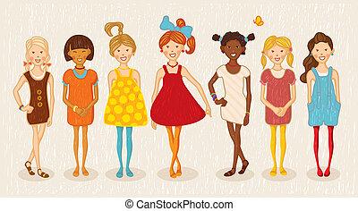 Seven girls illustration set