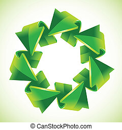seven green recycling arrows