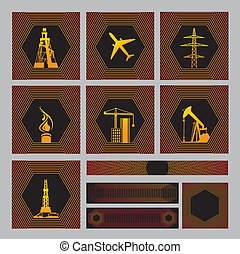 Seven icons pack with bagrounds. There are Images: drilling...
