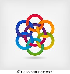 seven interlocked circles in gradient rainbow colors