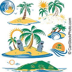 Seven Islands - Cartoon art of different tropical islands