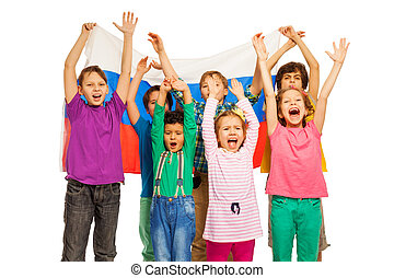 Seven kids with flag of Russian Federation behind