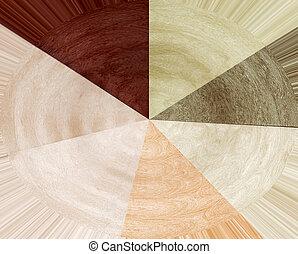 Seven laminated wood samples - Colorful laminated wood...