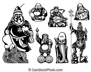 Seven Lucky Gods - Japanese seven Lucky Gods - Ebisu, Hotei,...