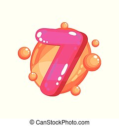 Seven magenta glossy bright number, kids font vector Illustration on a white background