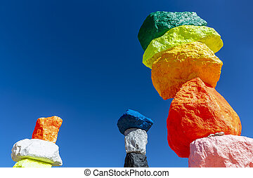 Seven Magic Mountains Sculpture Adds Splash of Color to Desert Near Las Vegas