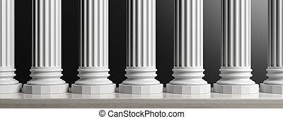 Seven marble pillars on black background. 3d illustration