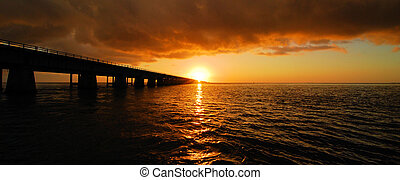 Seven Mile Panorama - Sunset from the Seven Mile Bridge in...