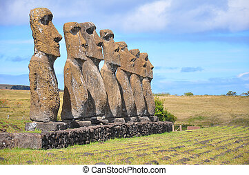Seven Moai, Easter Island - Group of seven Moai on Easter...