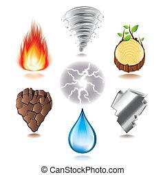 Seven natural elements icons vector set