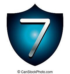 Seven number on blue shield