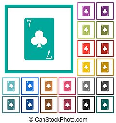 Seven of clubs card flat color icons with quadrant frames