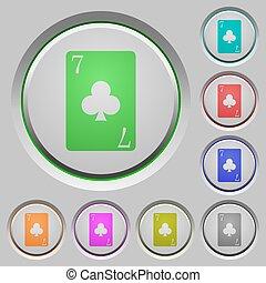 Seven of clubs card push buttons