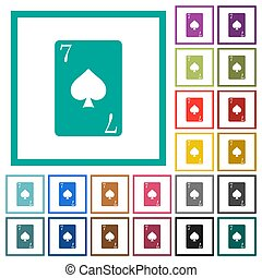 Seven of spades card flat color icons with quadrant frames