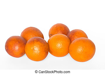 Seven oranges isolated on white background