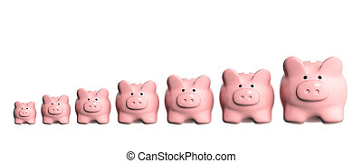 Seven piggy banks from different sizes - Conceptual image - ...