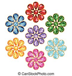 Seven Precious Flower Isolated Obje