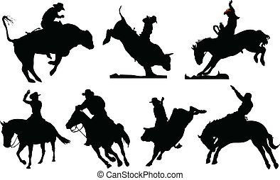 Seven rodeo silhouettes. Black and white Vector illustration...