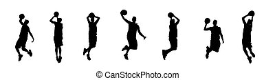 seven silhouettes - seven basketball player silhouettes on ...