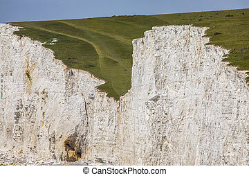 Seven Sisters Chalk Cliffs - A close-up view of the Seven ...
