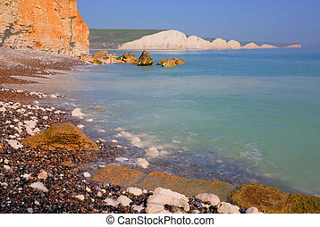 Seven Sisters chalk cliffs South Downs East Sussexlue sky and sea