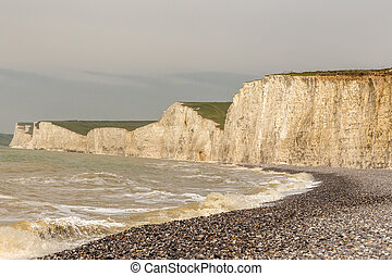Seven Sisters chalk cliffs taken from the beach.