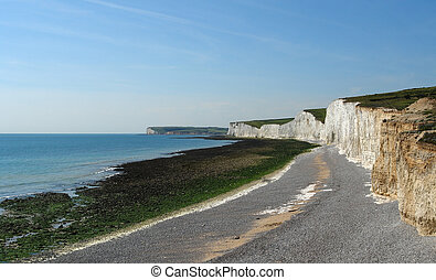 Seven Sisters near of Newhaven - panoramic scenery with...