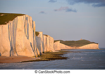 Seven sisters - Seven Sisters chalk cliffs in East Sussex at...