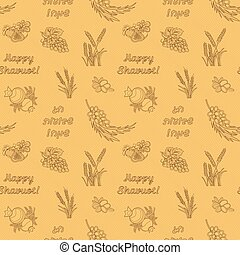 Seven species of the Shavuot, monochrome seamless pattern