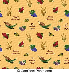 Seven species of the Shavuot, seamless pattern