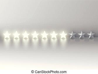 seven-star, 等级分类, 带, 发光, 3d, 星, 矢量, 描述