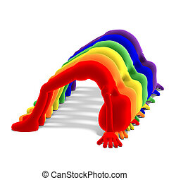 seven symbolic 3d male toon characters in the colors of a...