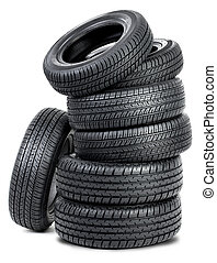 Seven tires - Tires isolated on the white background