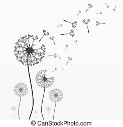 Seven vector dandelions - Seven dandelions. Wind is blowing...