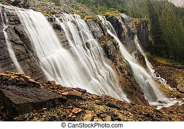 Seven Veils Falls, Lake O'Hara, Yoho National Park, Canada -...