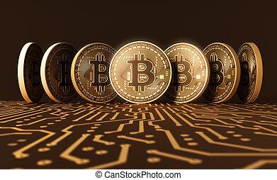 Seven Virtual Coins Bitcoins On Printed Circuit Board. 3D...