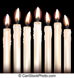 Seven White Candles - Seven white candles isolated on black...