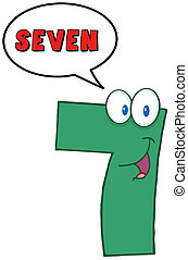 Seven With Speech Bubble - Number Seven Cartoon Mascot ...