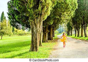 Seven year old girl running - Seven year old girl is running...