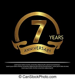 seven years anniversary golden. anniversary template design for web, game ,Creative poster, booklet, leaflet, flyer, magazine, invitation card - Vector