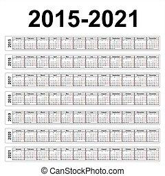 Seven years vector calendars