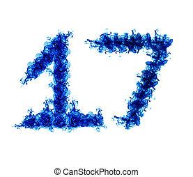 Seventeen blue flames