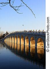 Seventeen Holes Bridge scene in the Summer Palace, Beijing,...