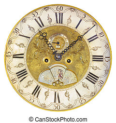 Seventeenth century clock face isolated on white - Genuine...